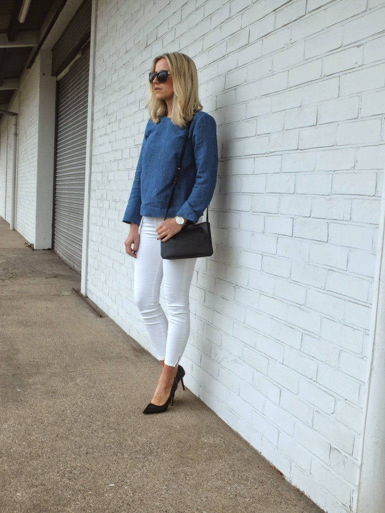 White Jeans & Denim Shirt