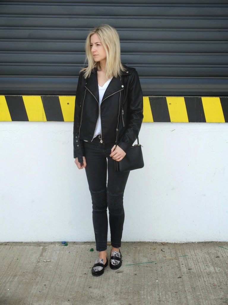 Black Jacket and Leather Loafers