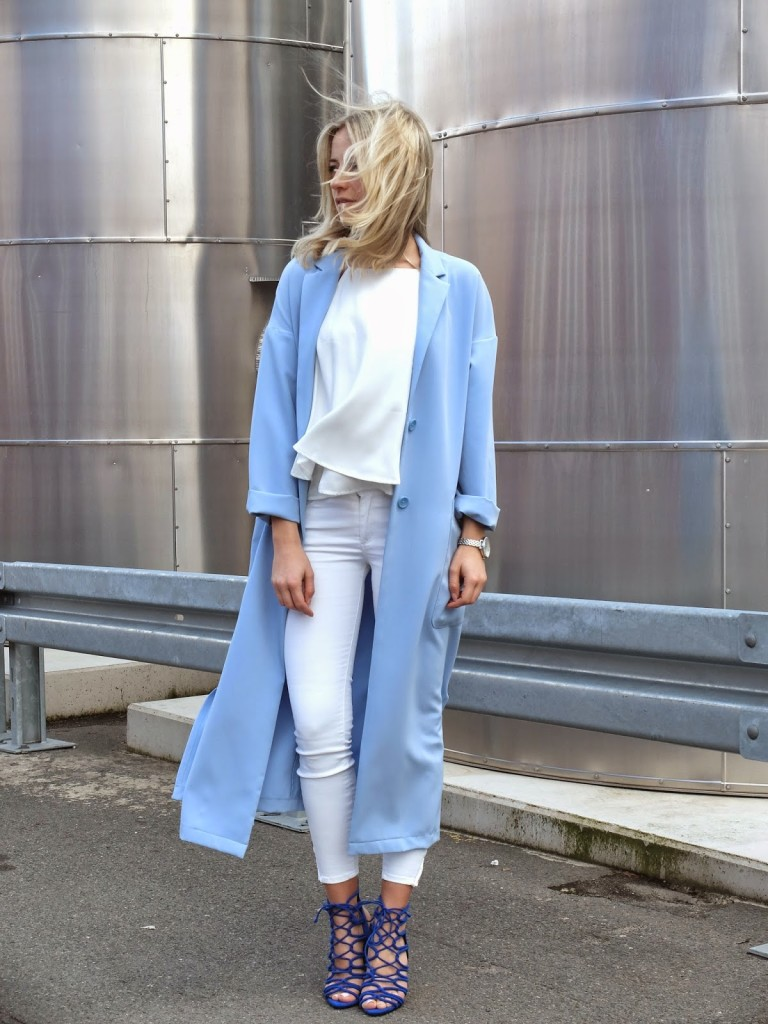 Baby Blue Long Coat & White Denim Jeans