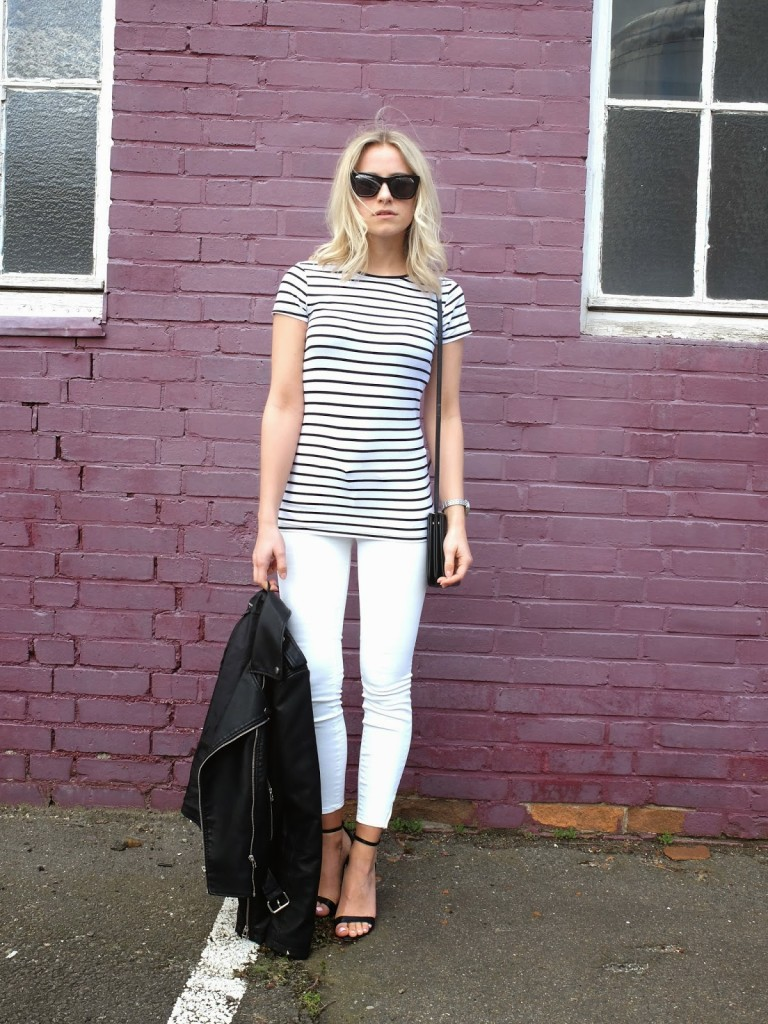 White Jeans & Stripe Shirt