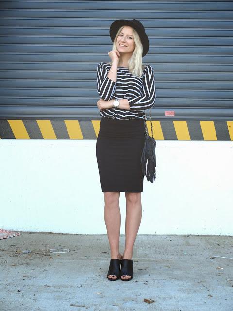 Black Pencilskirt &  Stripes!