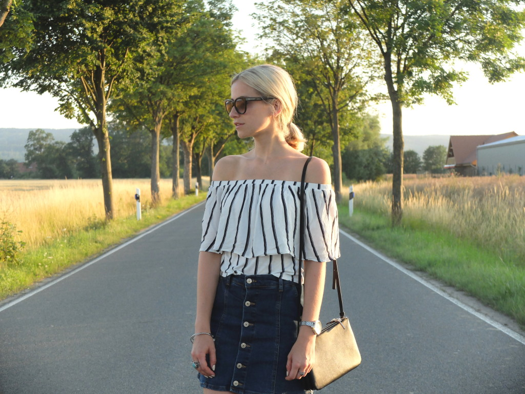 Denim Skirt & Stripes