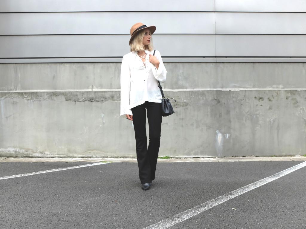 white shirt & flared pants