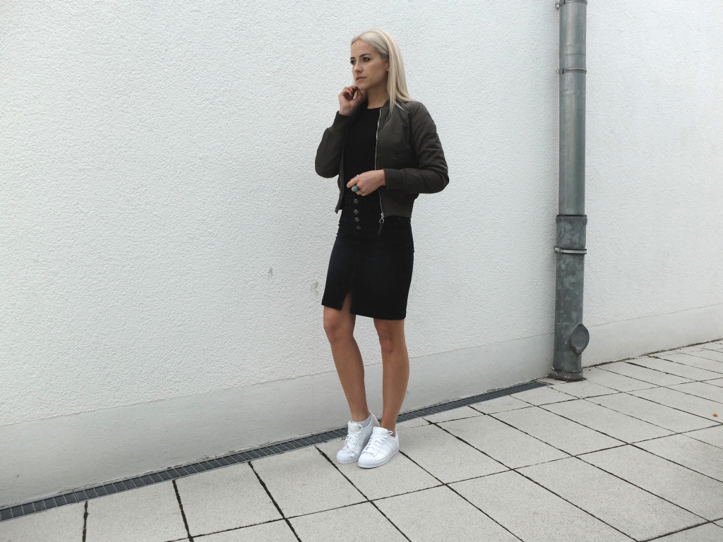Black Denim Skirt + Bomber Jacket