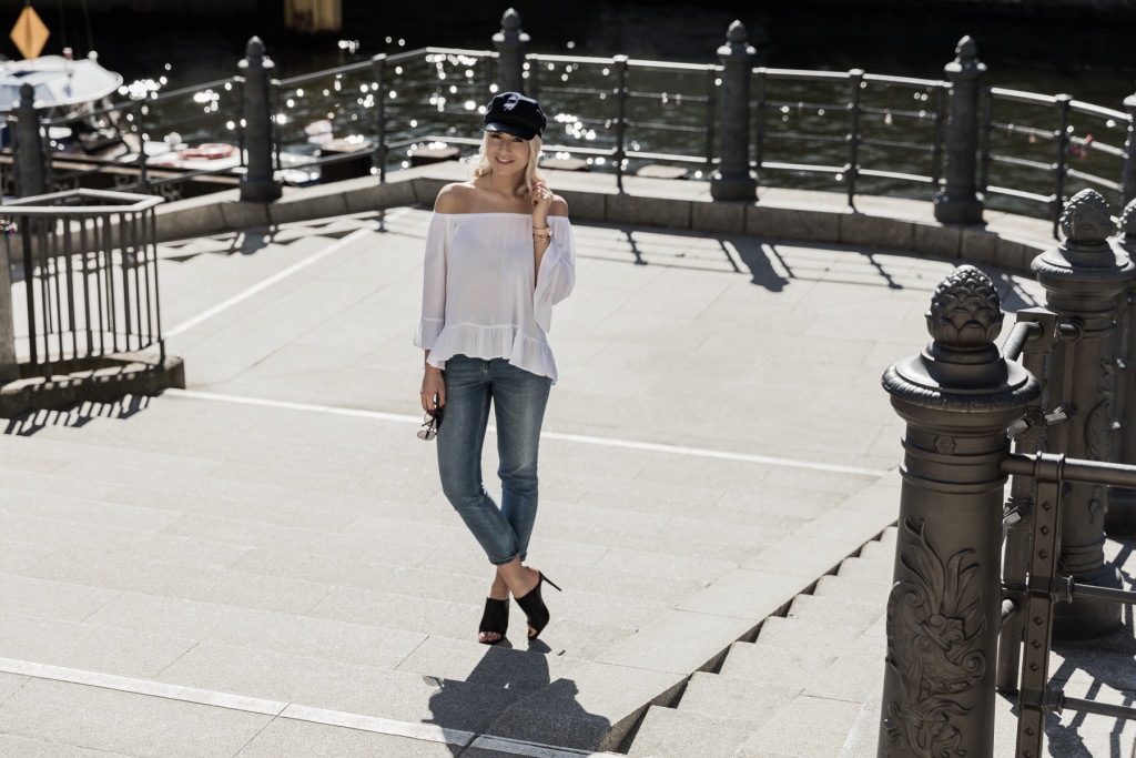 White off-shoulder shirt and denim