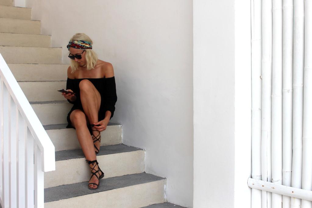 Black off-shoulder summer dress + Ic! Berlin Sunnies