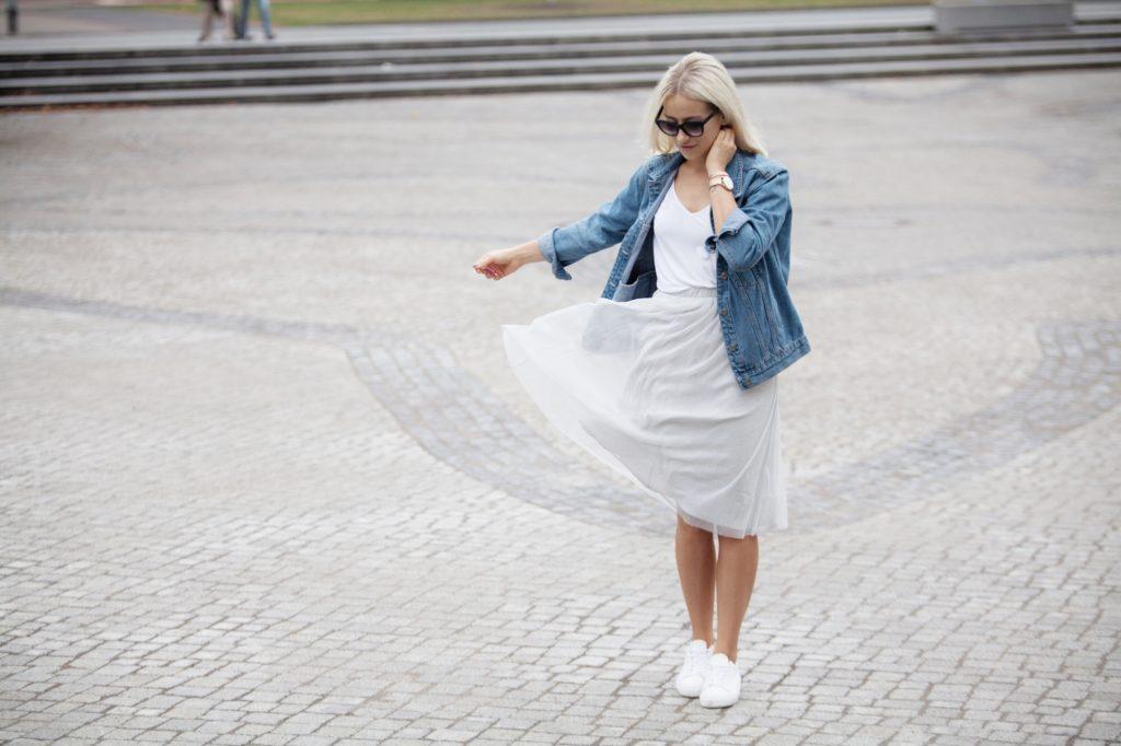tulle skirt and denim jacket